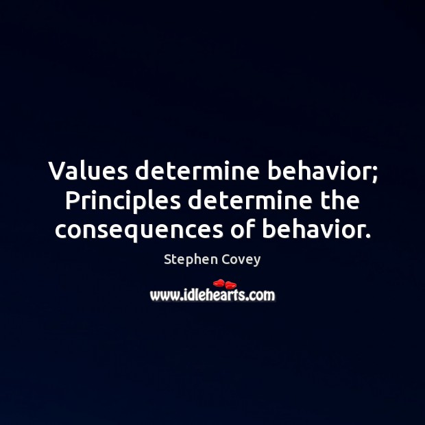 Values determine behavior; Principles determine the consequences of behavior. Stephen Covey Picture Quote
