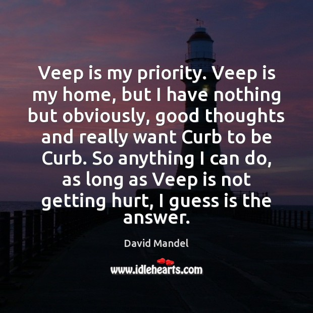 Veep is my priority. Veep is my home, but I have nothing David Mandel Picture Quote