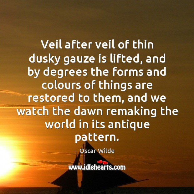 Image, Veil after veil of thin dusky gauze is lifted, and by degrees