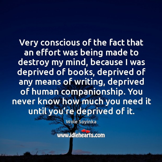Very conscious of the fact that an effort was being made to destroy my mind Wole Soyinka Picture Quote