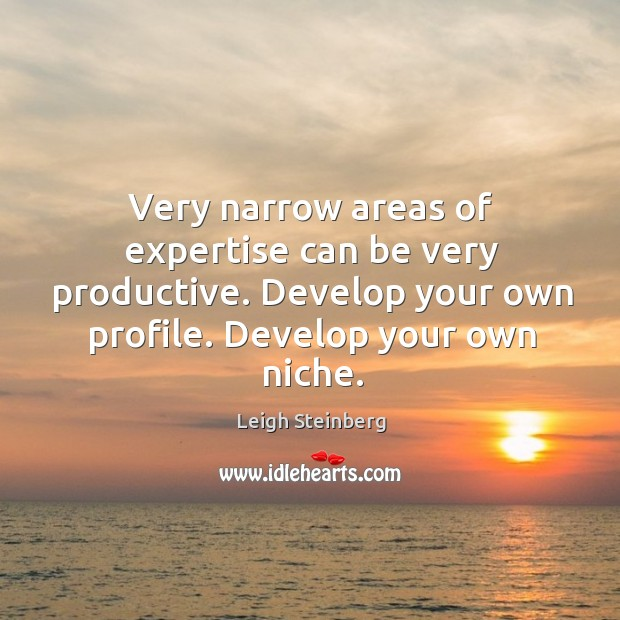 Very narrow areas of expertise can be very productive. Develop your own profile. Develop your own niche. Image