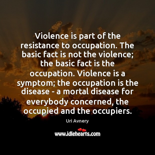 Violence is part of the resistance to occupation. The basic fact is Image