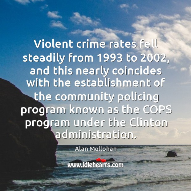 Image, Violent crime rates fell steadily from 1993 to 2002, and this nearly coincides with the establishment