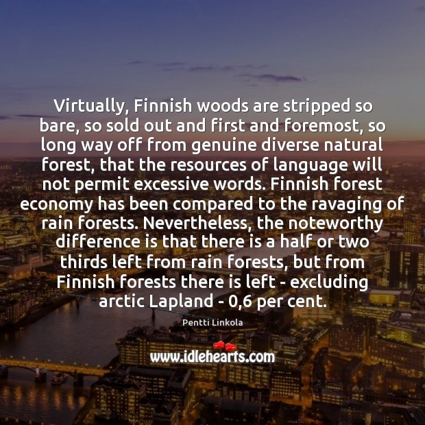 Image, Virtually, Finnish woods are stripped so bare, so sold out and first