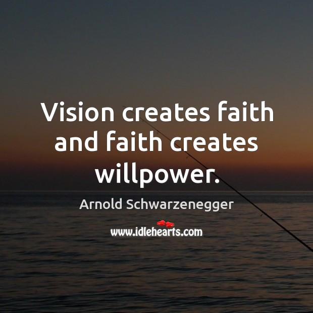 Image, Vision creates faith and faith creates willpower.