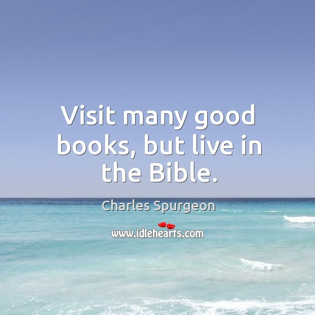 Visit many good books, but live in the Bible. Image