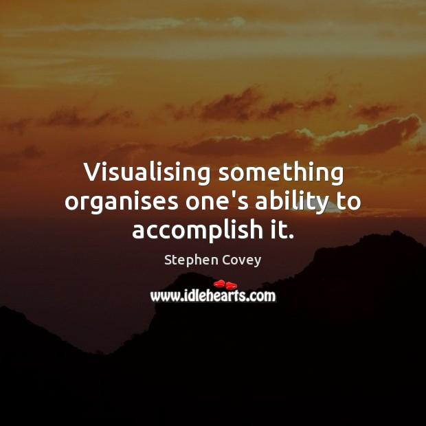 Image, Visualising something organises one's ability to accomplish it.