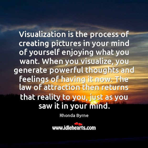 Visualization is the process of creating pictures in your mind of yourself Rhonda Byrne Picture Quote