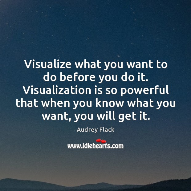Visualize what you want to do before you do it. Visualization is Image