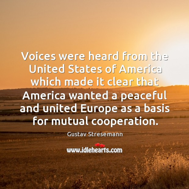 Voices were heard from the united states of america which made it clear that america wanted Image