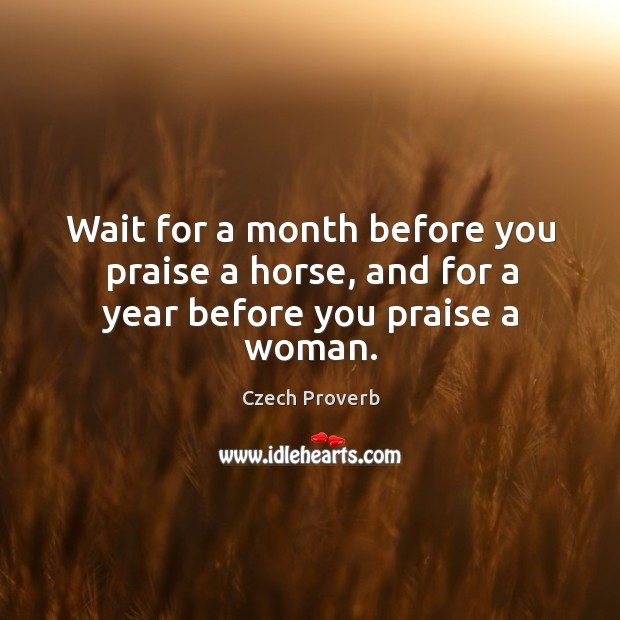 Wait for a month before you praise a horse, and for a year before you praise a woman. Czech Proverbs Image