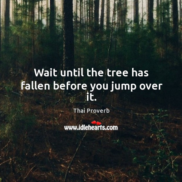 Wait until the tree has fallen before you jump over it. Thai Proverbs Image