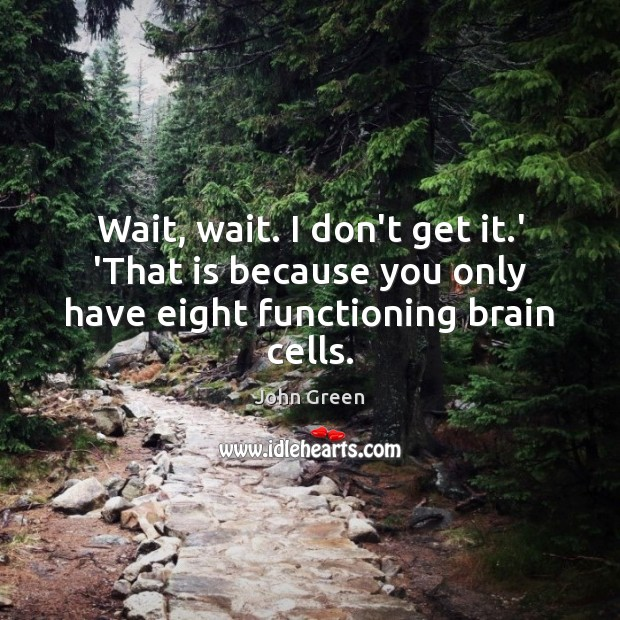 Image, Wait, wait. I don't get it.' 'That is because you only have eight functioning brain cells.