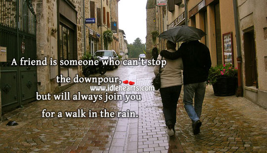 Friend Always Join You For A Walk In The Rain.