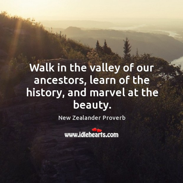 Walk in the valley of our ancestors, learn of the history, and marvel at the beauty. New Zealander Proverbs Image