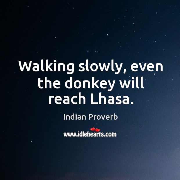 Walking slowly, even the donkey will reach lhasa. Image