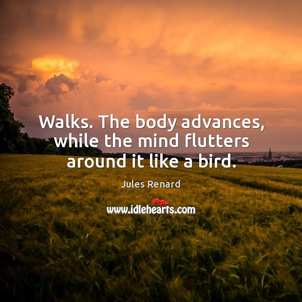 Walks. The body advances, while the mind flutters around it like a bird. Jules Renard Picture Quote