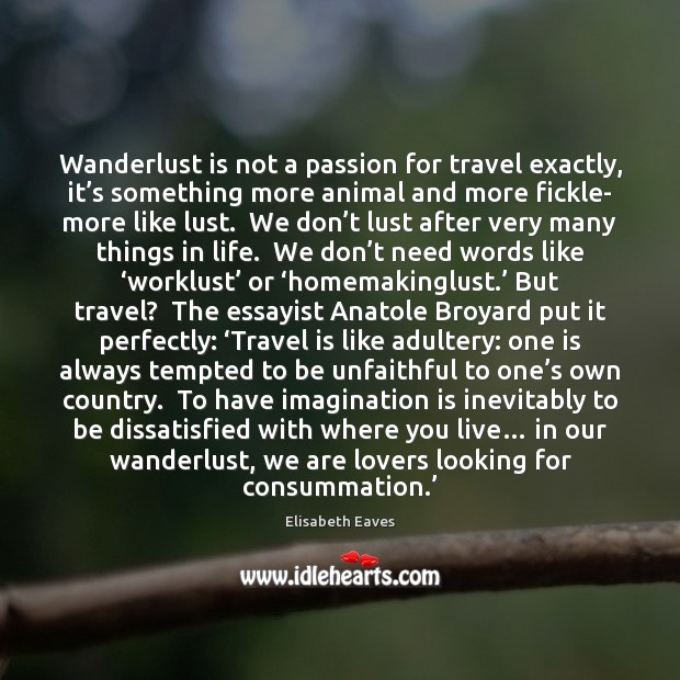 Wanderlust is not a passion for travel exactly, it's something more Imagination Quotes Image