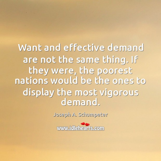 Image, Want and effective demand are not the same thing. If they were,