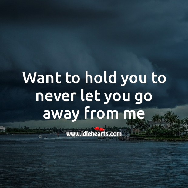 Want to hold you to never let you go away from me Valentine's Day Messages Image