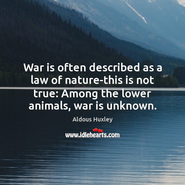 Image, War is often described as a law of nature-this is not true: