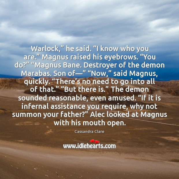"Image, Warlock,"" he said. ""I know who you are."" Magnus raised his eyebrows. """
