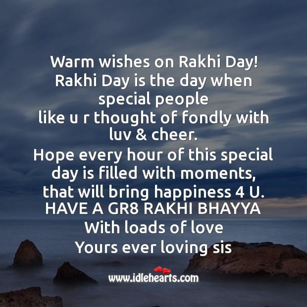 Warm wishes on rakhi day! Raksha Bandhan Messages Image