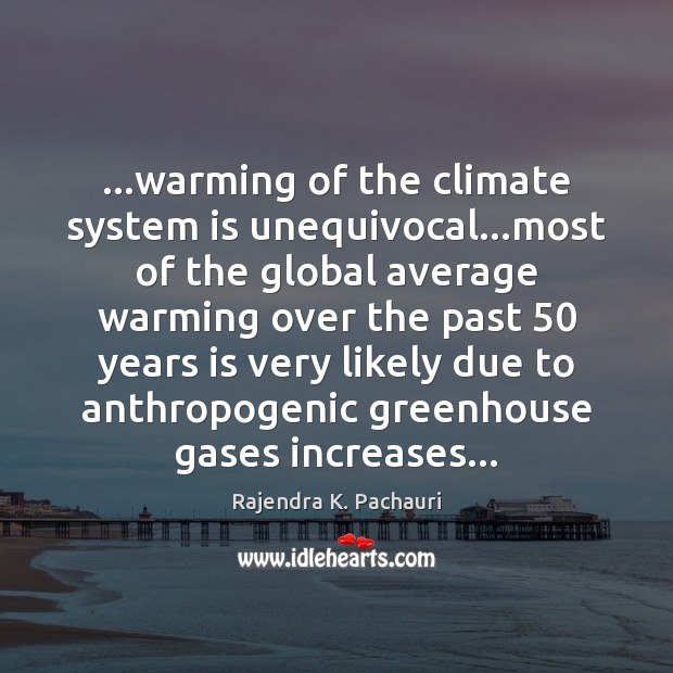 …warming of the climate system is unequivocal…most of the global average Image