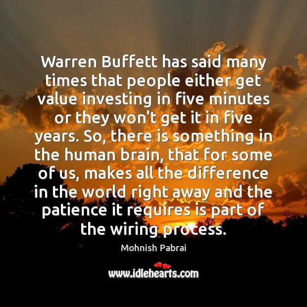 Warren Buffett has said many times that people either get value investing Image