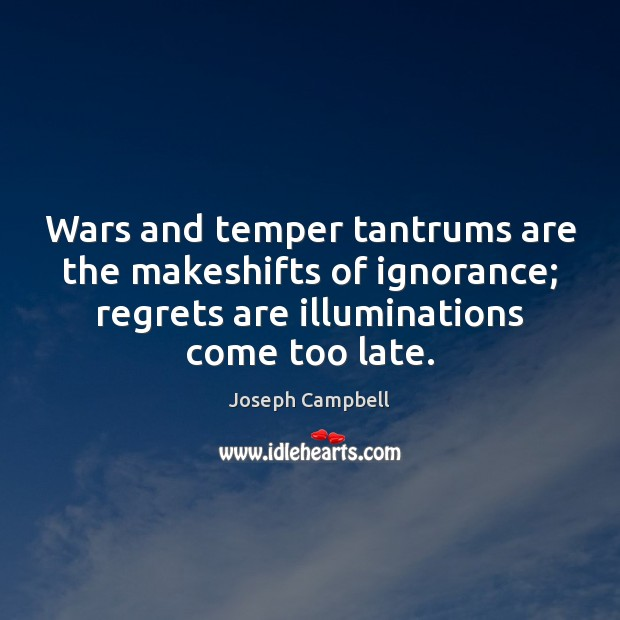 Wars and temper tantrums are the makeshifts of ignorance; regrets are illuminations Image