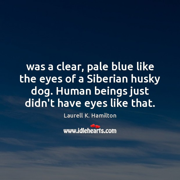 Was a clear, pale blue like the eyes of a Siberian husky Laurell K. Hamilton Picture Quote