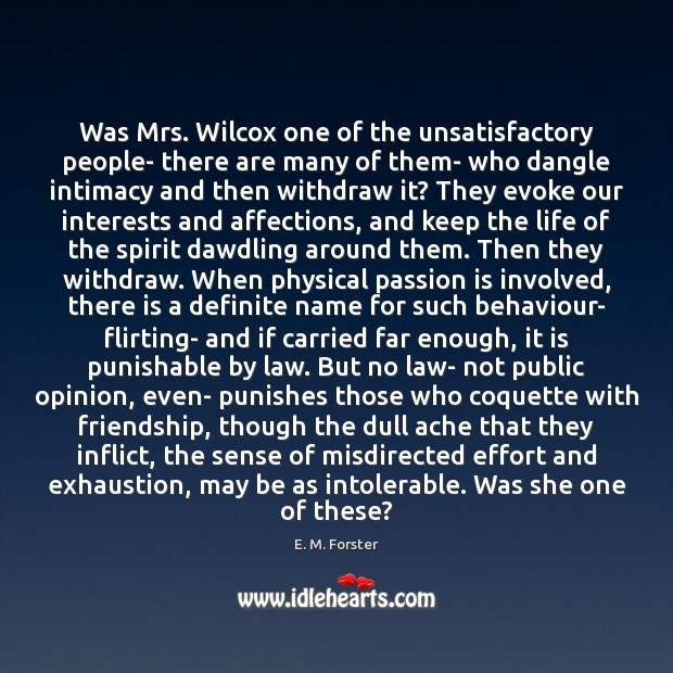 Was Mrs. Wilcox one of the unsatisfactory people- there are many of Image