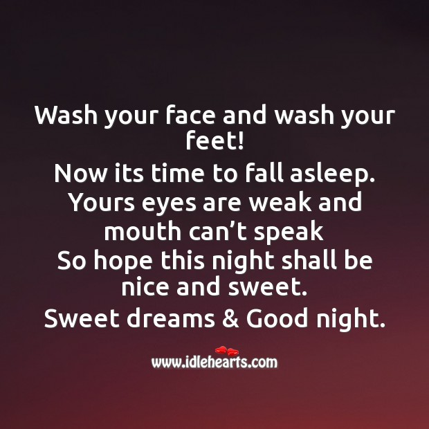 Wash your face and wash your feet! Image