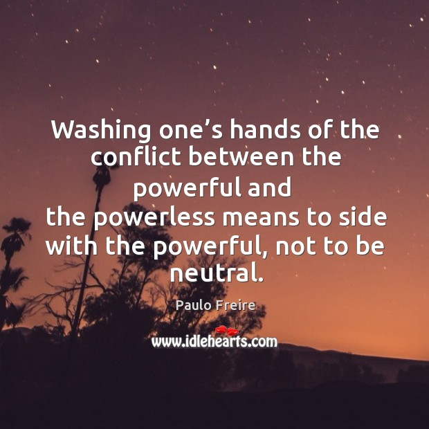 Washing one's hands of the conflict between the powerful Image
