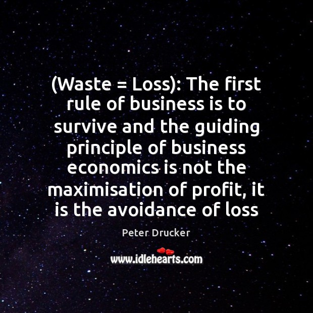 (Waste = Loss): The first rule of business is to survive and the Peter Drucker Picture Quote