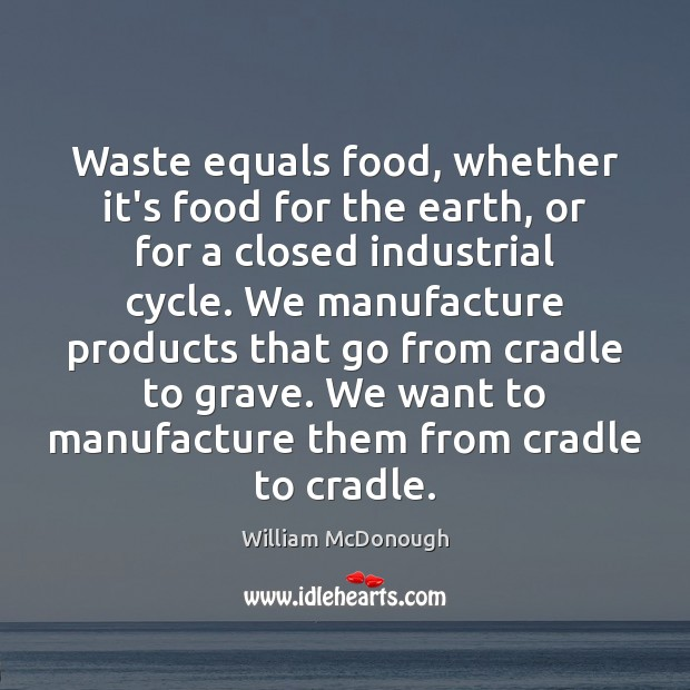 Waste equals food, whether it's food for the earth, or for a Image