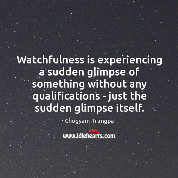 Image, Watchfulness is experiencing a sudden glimpse of something without any qualifications –
