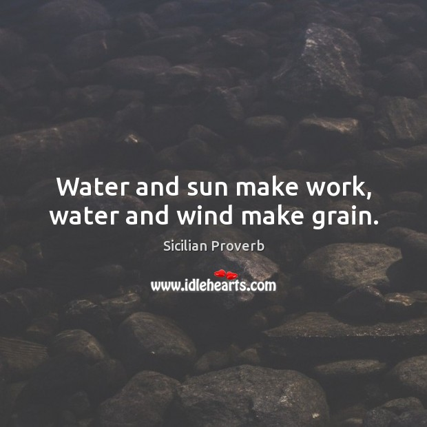 Image, Water and sun make work, water and wind make grain.