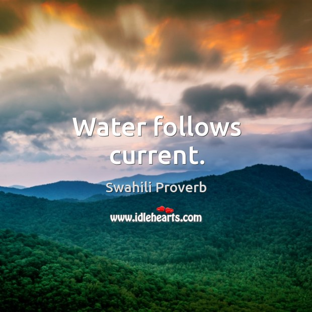 Water follows current. Image