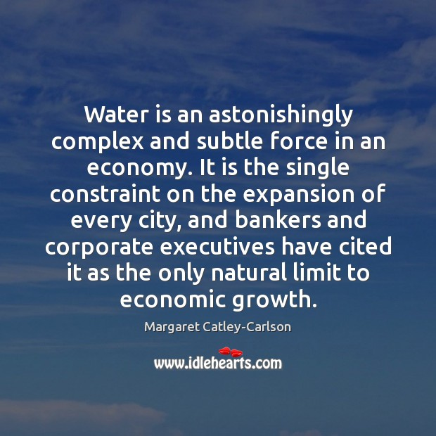 Water is an astonishingly complex and subtle force in an economy. It Image
