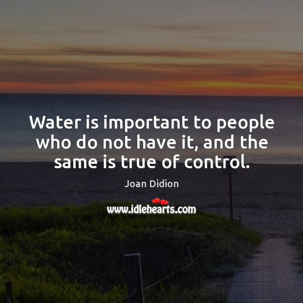 Water is important to people who do not have it, and the same is true of control. Joan Didion Picture Quote