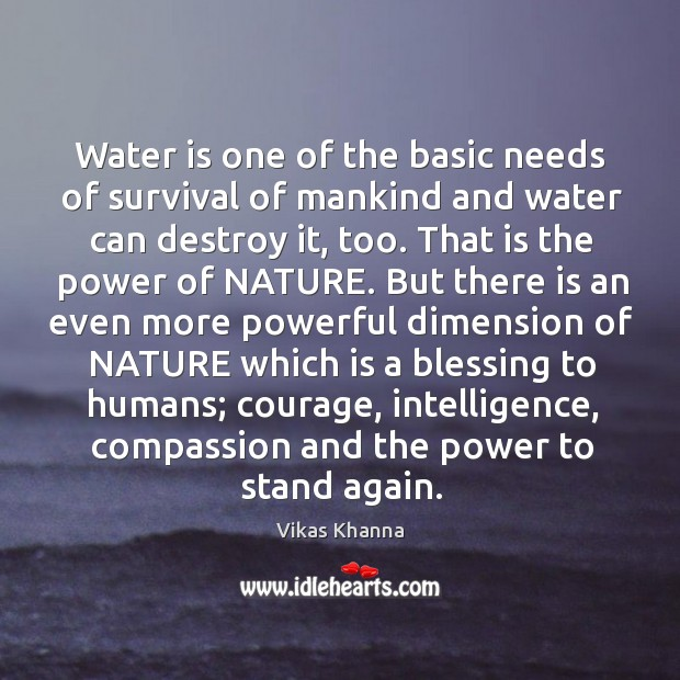 Water is one of the basic needs of survival of mankind and water can destroy it, too. Image