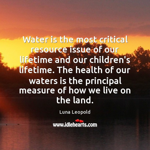 Water is the most critical resource issue of our lifetime and our Image