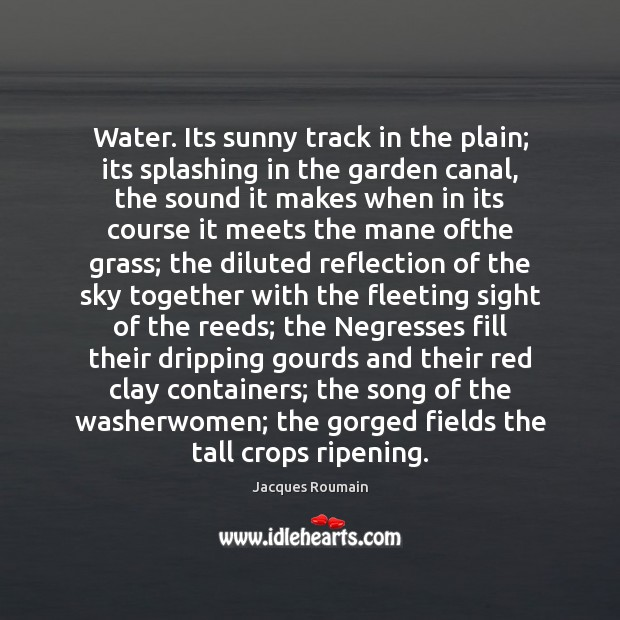 Water. Its sunny track in the plain; its splashing in the garden Image