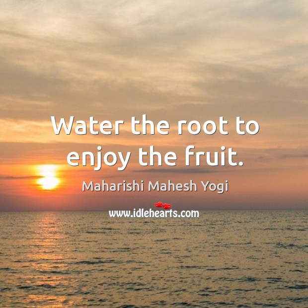 Water the root to enjoy the fruit. Image