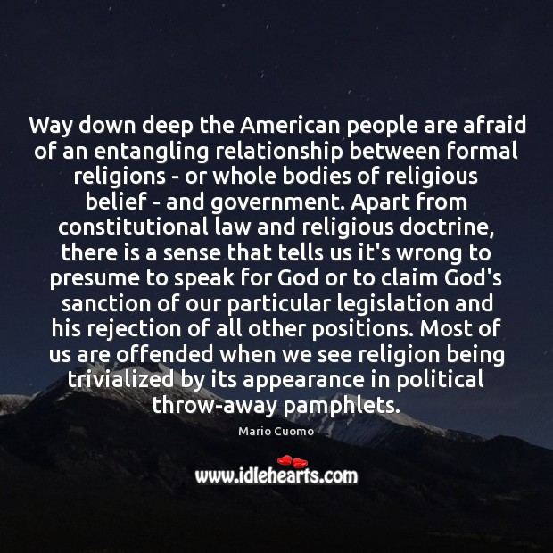 Way down deep the American people are afraid of an entangling relationship Image
