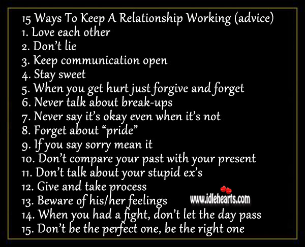 Image, Ways to keep a relationship working