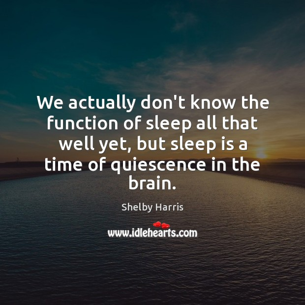We actually don't know the function of sleep all that well yet, Image