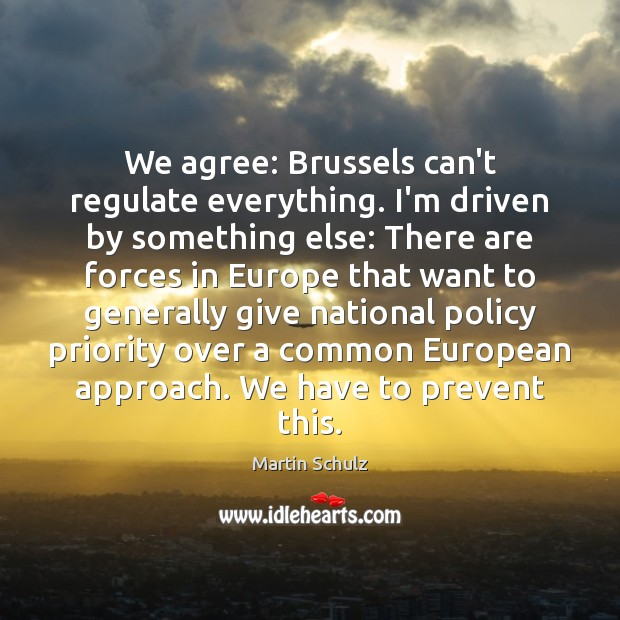 We agree: Brussels can't regulate everything. I'm driven by something else: There Martin Schulz Picture Quote