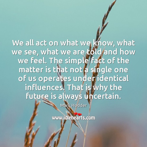 We all act on what we know, what we see, what we Image